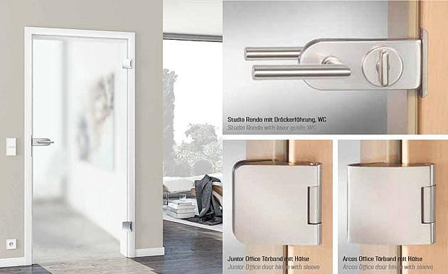 Распашная стеклянная дверь модель Pure от HUGA