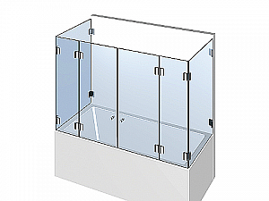 Распашное стеклянное душевое ограждение ТИП 305