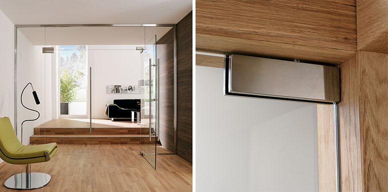 Распашная стеклянная дверь серии PT от DORMA